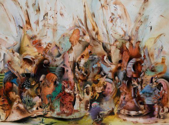 Ali Banisadr, In Medias Res, oil on canvas, 2015