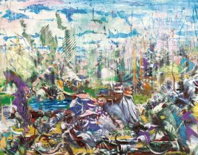 Ali Banisadr, Meanwhile, oil on panel, 2012.