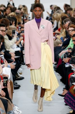 Céline: Phoebe Philo delivered yet another chic and highly wearable collection, with tailored trench coats, blazers and trousers creating a strong core. Artistic flourishes such as feathered embellishments, bold prints and unconventional leather tops and hoodies lent a fashion-forward spin.