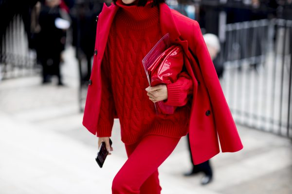 Red: Arguably the season's most powerful colour, red has dominated the streets of Paris this week. From deep oxblood hues to fiery crimson, there's a shade of red to suit almost anyone, the key to pulling it off, is to mix textures and finishes to ensure there's visual points of difference throughout the ensemble.
