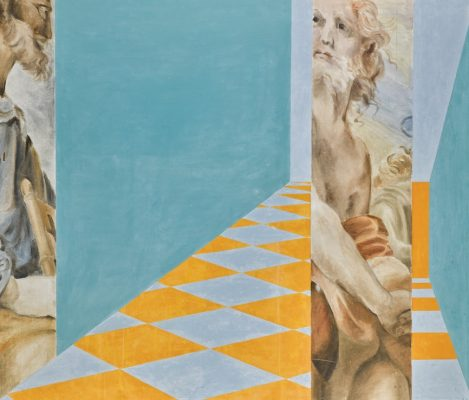 Samia Halaby, Untitled (Big Michelangelo Perspective No. 162), oil on canvas, 1965.