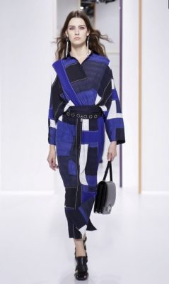 Hermès: Nadege Vanhee-Cybulski played with colour and pattern for spring/summer18 weaving a vast array of checks through her collection. Her streamlined silhouettes ensured the clothes felt modern, while the dusty orange, yellow, and cobalt blue pieces will provide an instant uplift to any summer wardrobe.