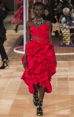 Alexander McQueen: Inspired by British gardens in full bloom, Sarah Burton's collection featured whimsical dresses which were embroidered with a wide array of flowers while layers of cascading ruffles resembled delicate petals