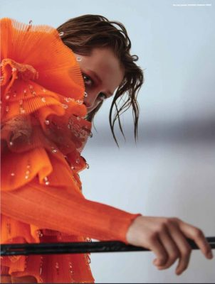 Pumpkin hued couture in Refinery Reimagined | MOJEH 47 | Photographed by Fedor Bitov | Styled by Camille-Josephine Teisseri