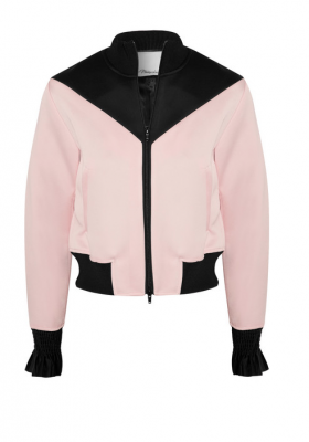 3.1 Phillip Lim's silk-trimmed satin-crepe bomber jacket in pastel-pink is feminine and street style-appropriate, for those who want to add a city edge to Gigi's ensemble.