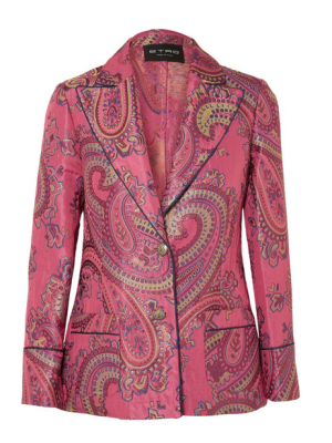 This jacquard blazer by Etro is perfect for those wanting to elevate this black-and-pink look, while keeping it sophisticated.