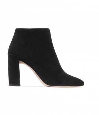 Stuart Weitzman's pure suede ankle boots are sturdy and sleek, perfect for cropped hemlines and ripped jeans.