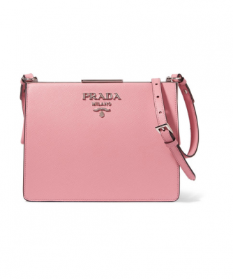 Add a pop of colour with Prada's frame textured-leather shoulder bag, which can be worn as a clutch – versatile enough for the day or evening.