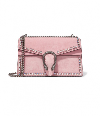 A MOJEH favourite, Gucci's Dionysus crystal-embellished suede shoulder bag in light-pink has an adjustable silver chain strap, and is a statement piece in itself.