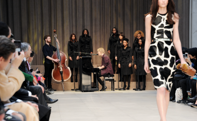 Singer Tom Odell performs at Burberry's autumn/winter 2013 womenswear show