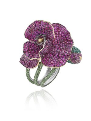 Chopard's Haute Joaillerie Red Carpet Collection Ring with rubies, tsavorites, emeralds and diamonds