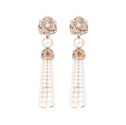 Piaget Rose Earrings with diamonds and pearls