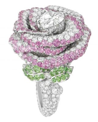 Dior Rose Bagatelle Ring with white gold, diamonds, pink sapphires and tsavorite garnets