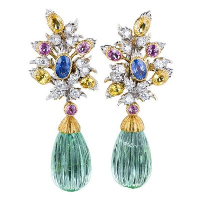 Buccellati Green Beryl Multi-Colour Sapphire Diamond Gold Earrings