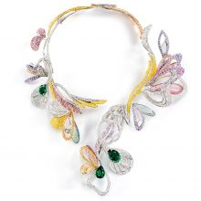 Boucheron Bouquet d'Ailes Necklace with emeralds, diamonds, sapphires, morganites, tourmalines, white, pink and yellow gold