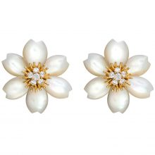 Van Cleef & Arpels Rose de Noel earrings with mother-of-pearl, diamonds and gold