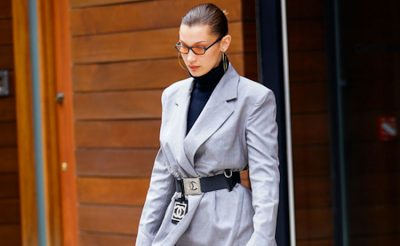bella hadid grey suit
