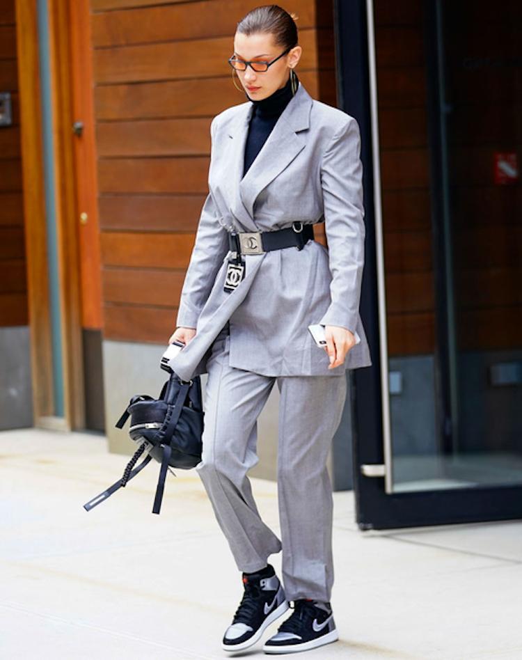 bella hadid grey suit