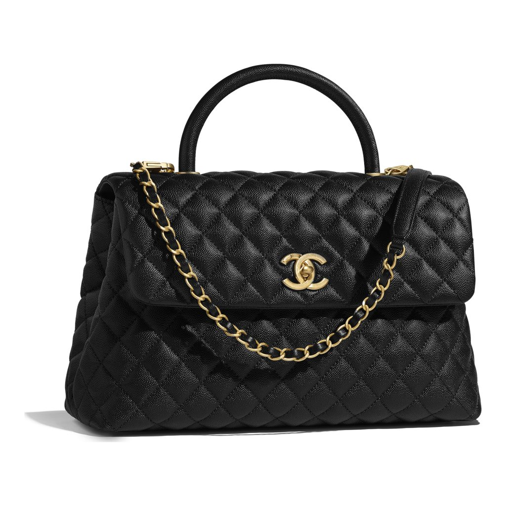 d9f30545afe2 Chanel Large Flap with top handle in black calfskin and gold tone metal