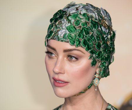 Amber Heard Wore A Bedazzled Valentino Swim Cap