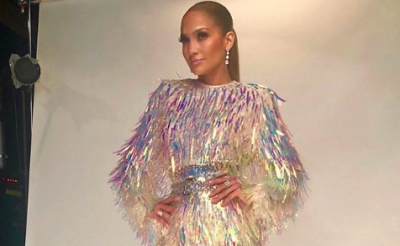 Jennifer Lopez Rocks A Tinsel-Covered Balmain Dress