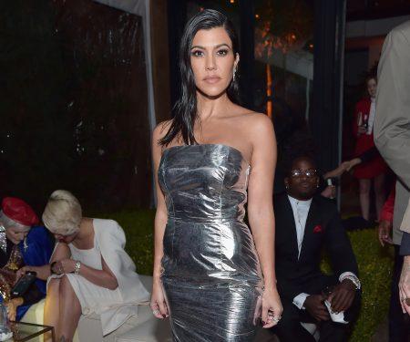 Kourtney Kardashian Wears Metallic Trend