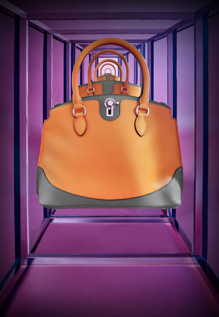 The Josephine bag in Mandarine & Tourterelle, Moynat Paris