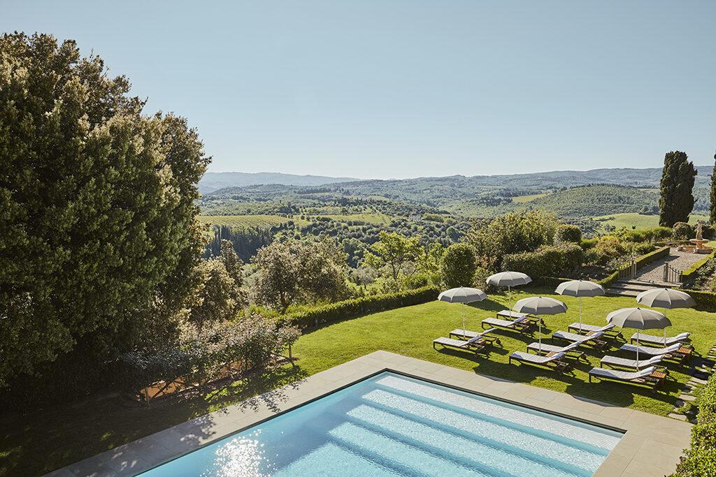 The garden pool at Como Castello del Nero in Tuscany