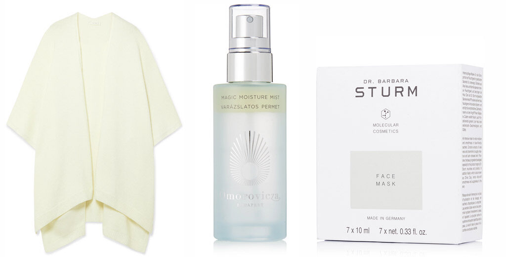 From Left: Cashmere cape, THE ROW | Face Mist, OMOROVITZA | Face Masks, DR. BARBARA STURM, all at NET-A-PORTER.COM