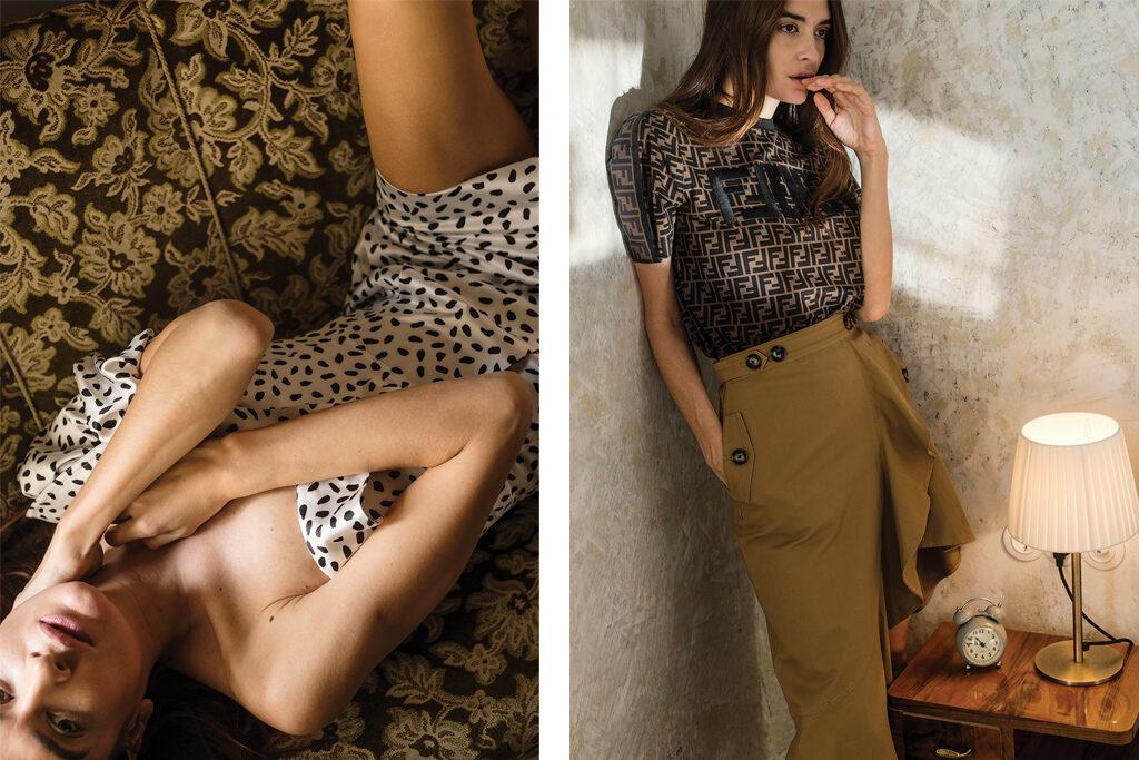 Left: Dress, SELF PORTRAIT | Right: T-shirt, FENDI | Skirt, SELF–PORTRAIT