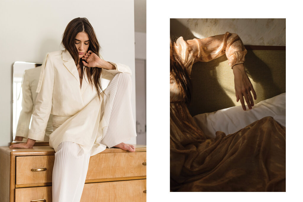 Left: Jacket, dress and trousers, NOBI TALAI | Right: Dress, FORTE_FORTE