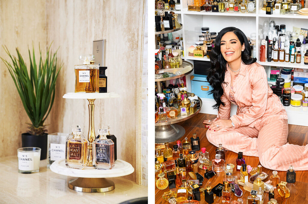 Left: Sitting pride of place along with Chanel and Tom Ford in her bathroom are her treasured own-brand Kayali fragrances. | Right: Hanging out in her favourite room of the house, the product room, which is home to Mona's vast collection on fragrance and make-up. Mona wears jacket and trousers by Off-White, and her own vintage camisole