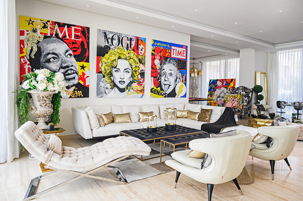 Mona's love of pop art is displayed throughout the house, with her first and second acquisitions – Ride Fast and Ride Slow by Dubai-based, Italian artist Luca Valentini – taking pride of place above her hot pink pool table.
