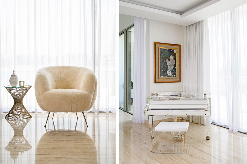 Left: In contrast to the bold pop art in her house there are also minimalist corners in neutral colours | Right: Mona's favourite area of the lounge houses her beloved acryllic piano, which was created in Spain, and took over a year to make.