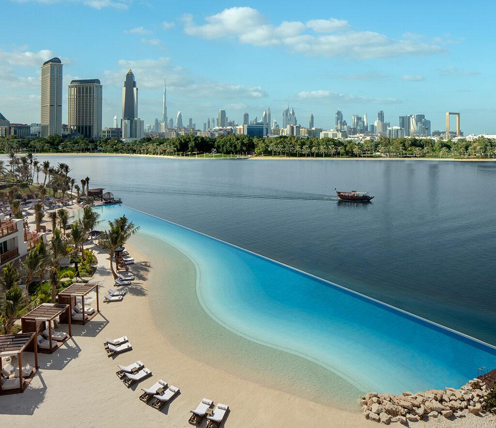 The Park Hyatt Dubai's 100-metre infinity lagoon leads into a beautiful private beach on the edge of the Dubai creek