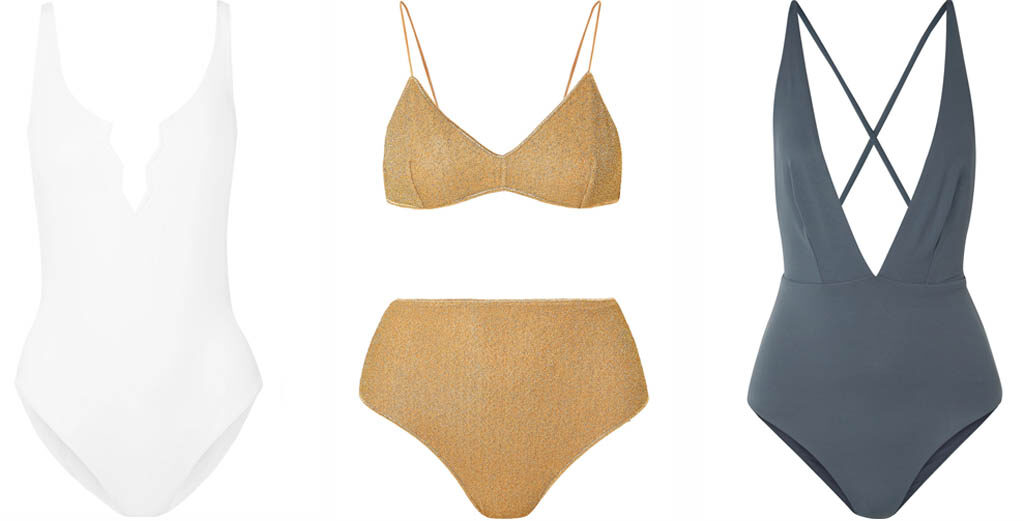 From left: Swimsuit, FISCH | Bikini, OSEREE | Swimsuit, SKIN all at NET-A-PORTER.COM