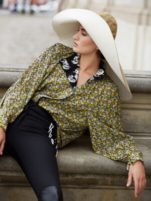 Blouse and trousers, LOUIS VUITTON | Sou'wester, LOLA HATS