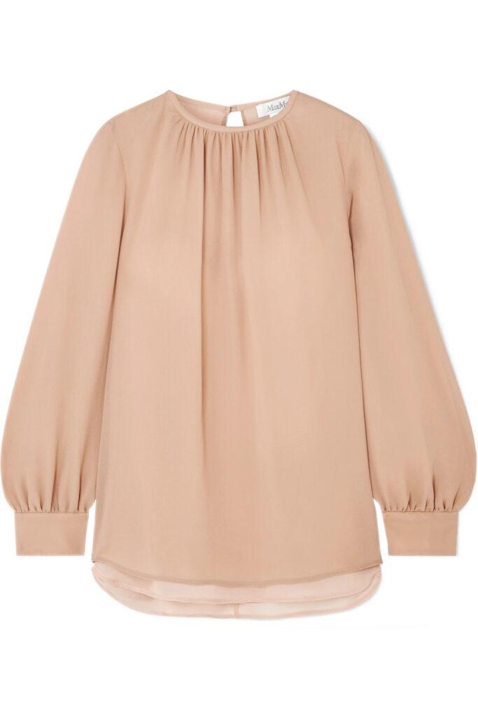 Max Mara Layered silk crepe de chine and chiffon blouse, Net-A-Porter.com
