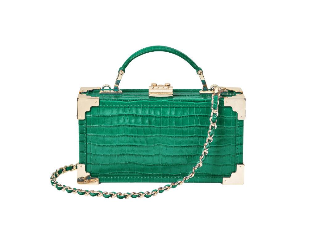 Trinket clutch in emerald green