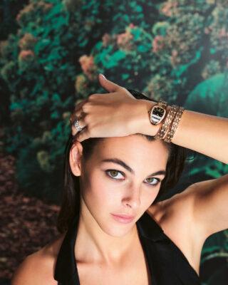 Vittoria Ceretti wears the Bvlgari Serpenti collection double-spiral watch