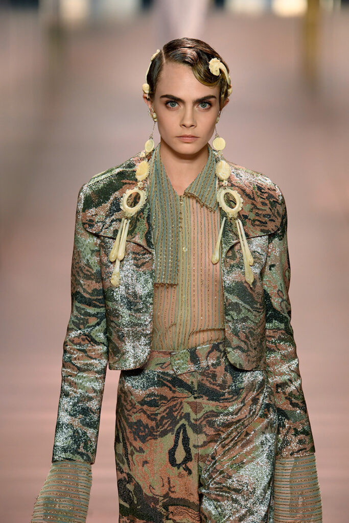 Wearable wet-look hair on Fendi's Haute Couture catwalk