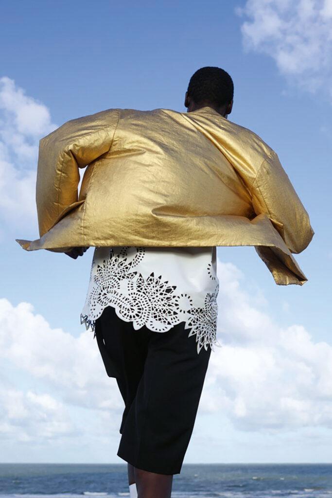 Dries Van Noten shows a gold bomber jacket