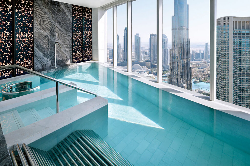 The indoor pool at the Address Sky View spa