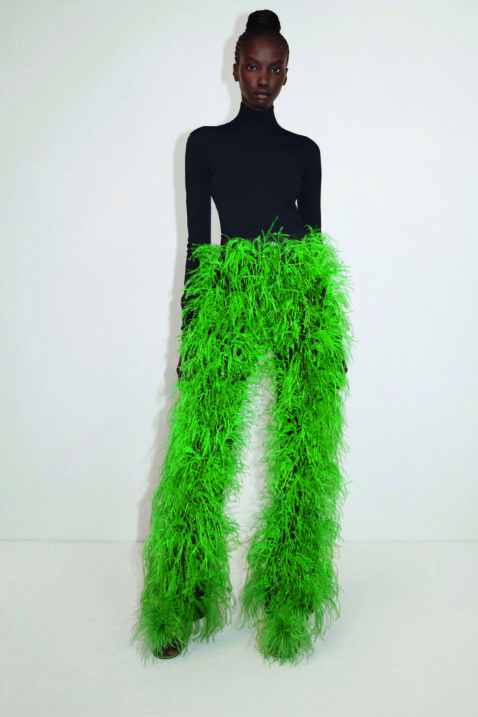 The Biggest Trends Of Pre-Fall 2021, Model wears fluffy green Bottega Veneta trousers