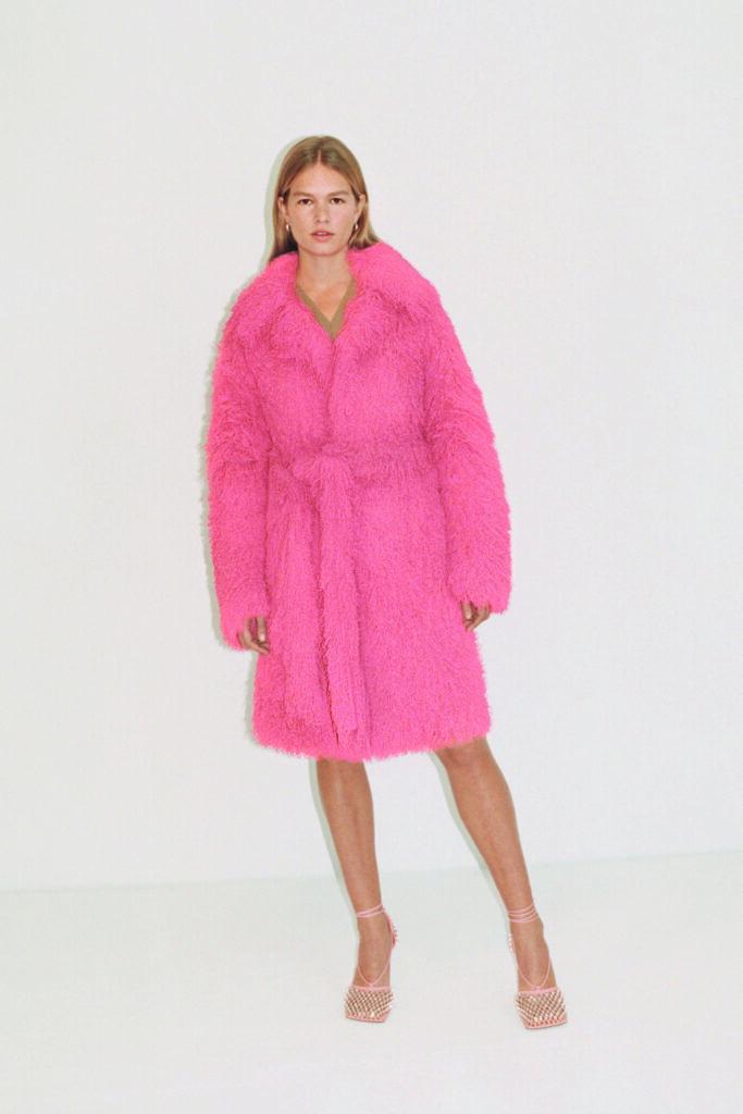 The Biggest Trends Of Pre-Fall 2021, Bottega Veneta model wears pink coat and mesh heels