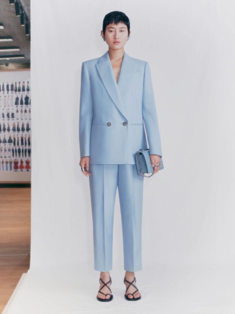 The Biggest Trends Of Pre-Fall 2021, Model wears blue Alexander McQueen suit