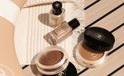 Summer holiday beauty essentials; Chanel Les Beiges collection flatlay