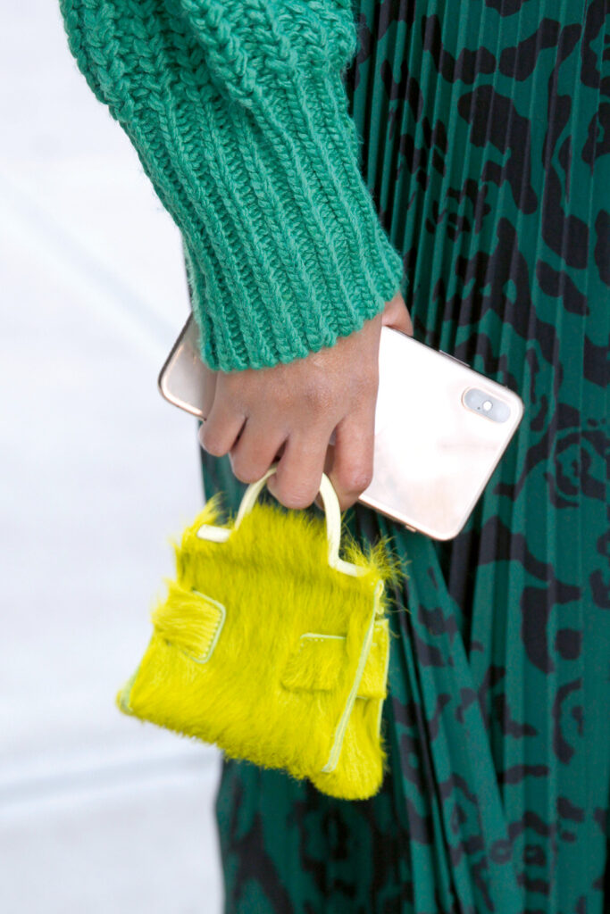 FW Street Style; Small yellow bag