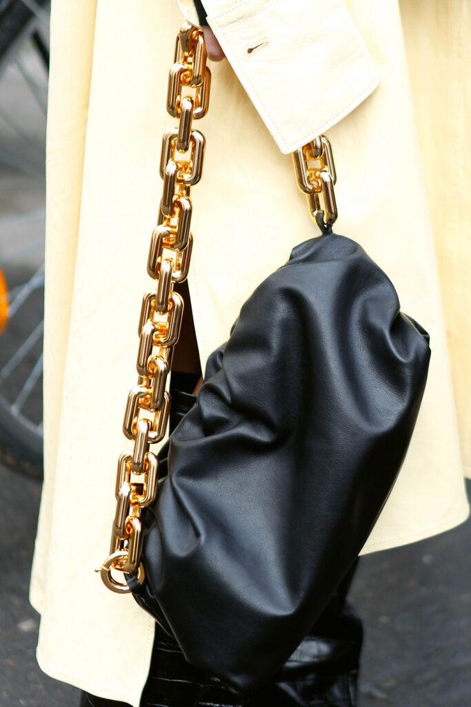 FW 20 Street Style; Bottega Veneta Pouch Bag