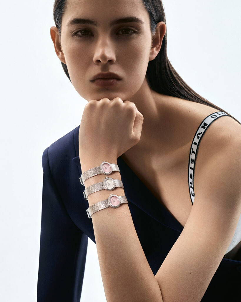 Model wears three La Mini D de Dior Satine timepieces